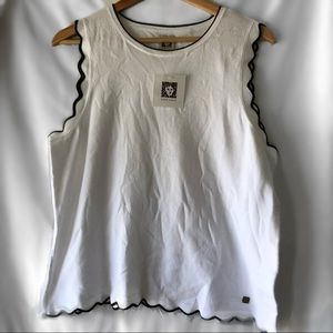 Anne Klein Cut Out Scalloped Top